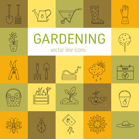 pruner: Vector line icons collections made in minimalist modern style.  Flower and gardening. Tools and materials for working in garden. Illustration