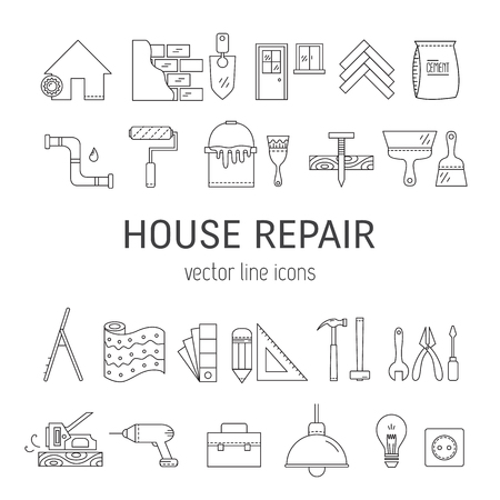 House repair vector line icons - construction, electricity, plumbing, home repair tools. Illustration