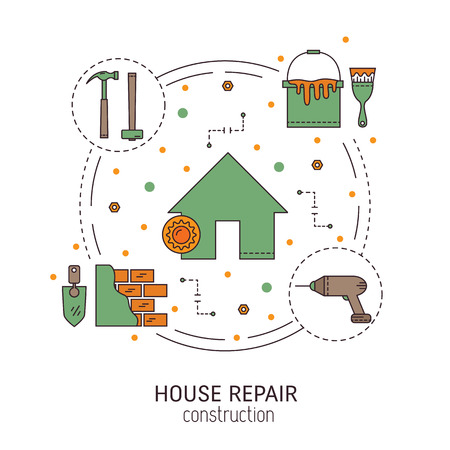 overhaul: House repair  round concept made in modern line style. Overhaul with repair tools. Flat icons isolated vector illustration.Can be used for infographics design, web elements.