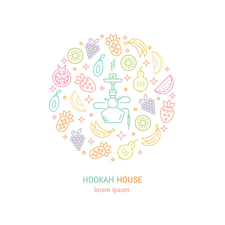 shisha: Vector logo design with fruit and hookah in trendy linear style - abstract circle emblem for hookah house, cafe and tobacco packaging design. Vector illustrations isolated on white background. Illustration