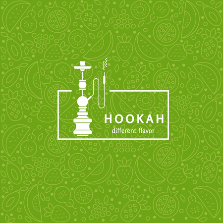 Vector seamless pattern with fruit and hookah in trendy linear style. Hookah logo design template. Perfect for tobacco packaging design. Vector background. Illustration