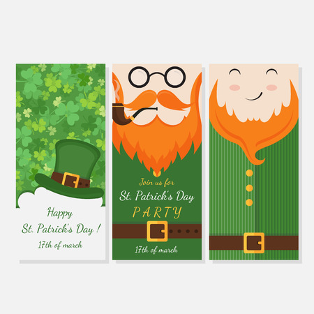 Vector modern flat card design with Saint Patricks Day symbols - leprechauns, green hat, red beards, seamless pattern with clover. Vector holiday badge design.