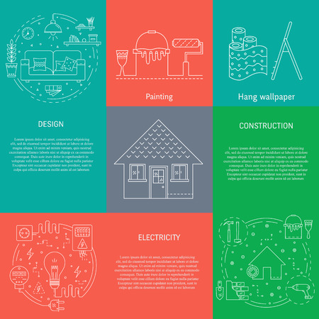 Vector set of templates with house repair - construction, electricity, wiring, interior design, architecture, building and repairing home. Objects made in thin line style. Banner and flyer collection.  イラスト・ベクター素材