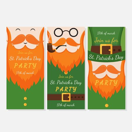 Vector set of modern flat poster design with Saint Patricks Day symbols -  leprechauns, green hat, red beards. Vector holiday cards and flyer design.