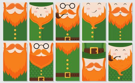 Vector set of 10 modern flat card design with Saint Patricks Day symbols - leprechauns green hat green suit with clover texture red beard smoking pipe. Vector holiday badge design.