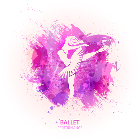 Ballerina on watercolor pattern