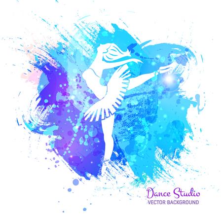 Ballerina on watercolor pattern