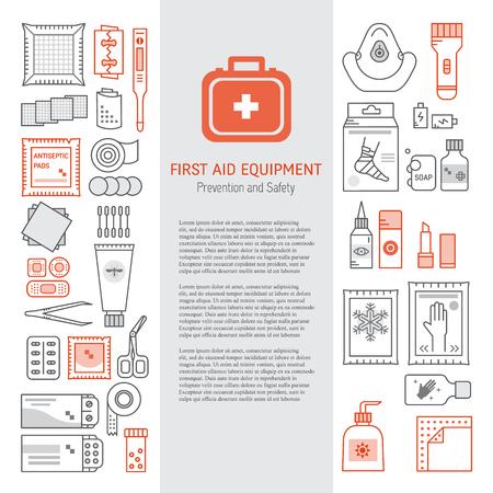 Vector conjunto de botiquín de primeros auxilios, equipo médico y medicamentos para la emergencia aislado en fondo blanco. Ilustración vectorial con lugar para el texto. Iconos médicos establecidos en el estilo de línea moderna.