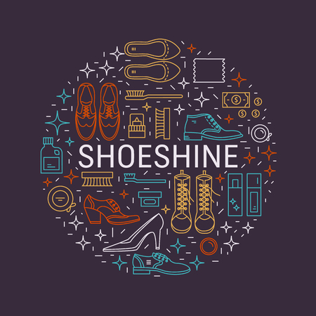 Shoeshine vector icons Illustration