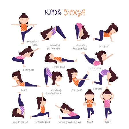 Yoga kids poses Çizim