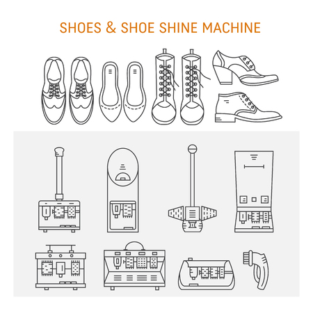 Vector icons collections with different type of shoes and shoe shine machines. Shoe Shine service. Outline icon for shoe care in trendy linear style. Stock Vector - 80193279