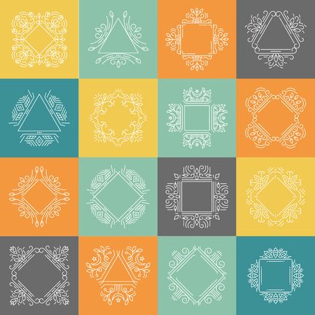 Vector set of geometrical  logo design templates and emblems in trendy linear style isolated on background. Perfect for floral and natural cosmetics concepts. Ethnic frame. Illustration