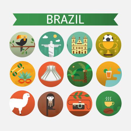 Vectorillustratie met Brazilië symbolen gemaakt in moderne vlakke stijl. Reis naar het concept van Brazilië. Vlakke pictogrammen gerangschikt in cirkel.