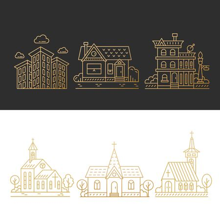 Vector design elements for city illustration in gold. Collection of linear icons with buildings, house, hotel and churches in trendy line style isolated on black and white background.