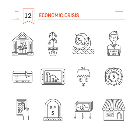 bankrupt: Vector economic and financial crisis icons set  in linear style.  Financial bankruptcy  and unemployment concepts isolated on white background. Infographics design elements.