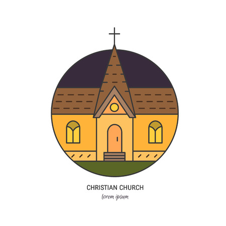 Church in linear style Illustration