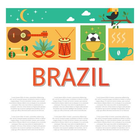 Vectorillustratie met Brazilië symbolen gemaakt in moderne vlakke stijl. Reis naar het concept van Brazilië. Vlakke pictogrammen gerangschikt in plein en plaats voor uw tekst. Stock Illustratie