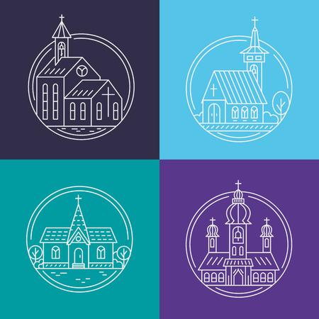 house of god: Church line set Illustration
