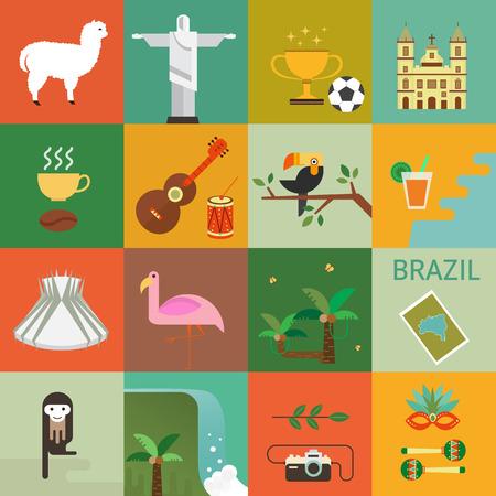 Vectorillustratie met Brazilië symbolen gemaakt in moderne vlakke stijl. Reis naar het concept van Brazilië. Vlakke pictogrammen gerangschikt in plein. Stockfoto