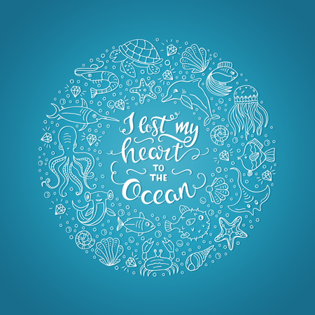 fish type: Ocean lettering illustration
