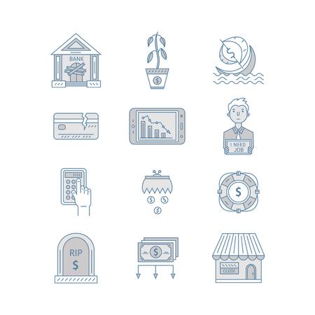 bankrupt: Economic crisis icons
