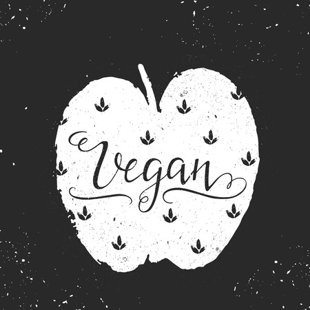 Vegan lettering illustrations Illustration