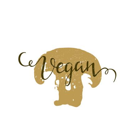 leaf logo: Vegan lettering illustrations Illustration