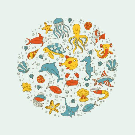 horse fish: Sea animals circle