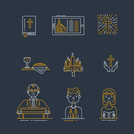 Christianity line icons set