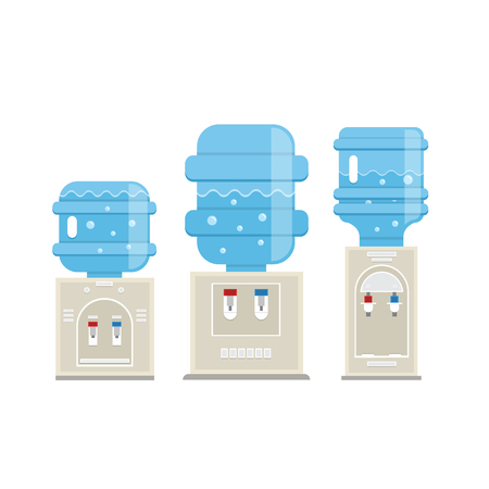 Vector set of  water cooler icons in trendy flat style. Gray water coolers with blue full bottles isolated on white background. 向量圖像