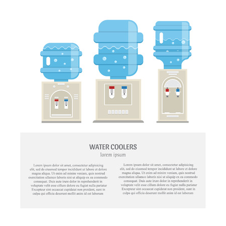 Vector set of  water cooler icons in trendy flat style. Gray water coolers with blue full bottles isolated on white background and place fot your text. 向量圖像