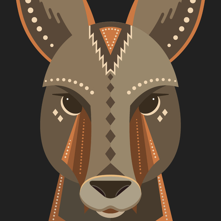 Poster of a kangaroo made in trendy flat style.