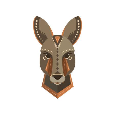 portrait d & # 39 ; un kangourou fait dans un style branché plat