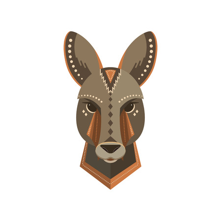 Portrait of a kangaroo made in trendy flat style.