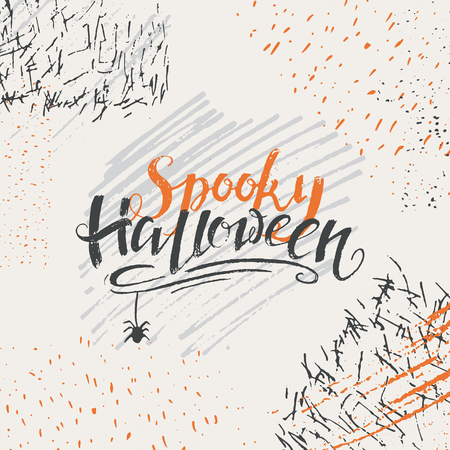 A Vector Halloween Lettering Greeting Card. Spooky Halloween Message Design  Background. Stock Vector