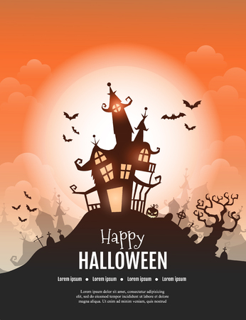 A Vector Happy Halloween poster with creepy castle, pumpkin and cemetery.