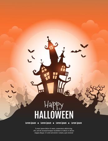 Een Vector Happy Halloween-poster met griezelige kasteel, pompoen en begraafplaats. Stock Illustratie