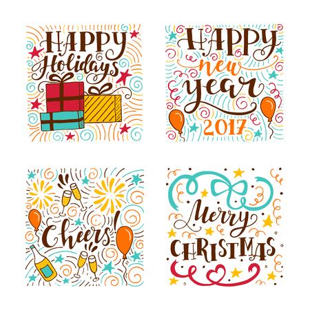 ジングルの鐘グリーティング カード クリスマス タイポグラフィから設定します 手書きのレタリング のイラスト素材 ベクタ Image