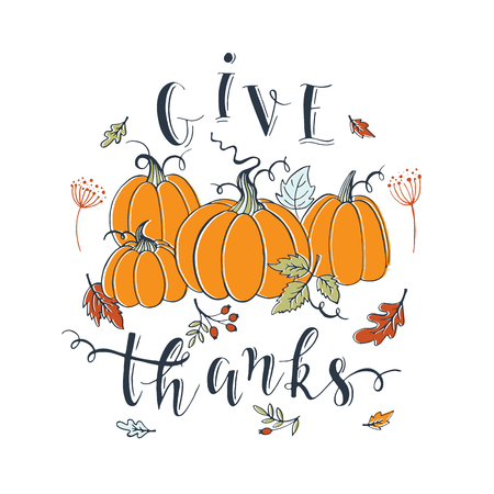 Thanksgiving design greeting card with typographic and decoration elements.