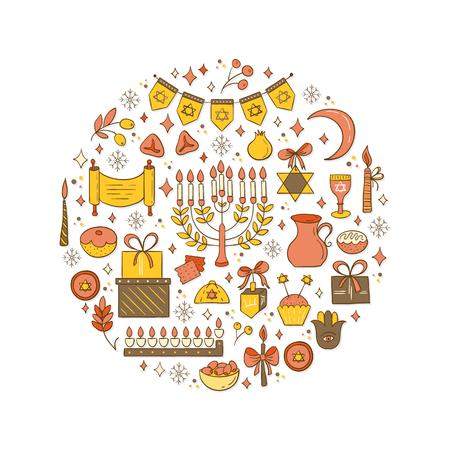 gelt: Set of Hanukkah design elements Illustration