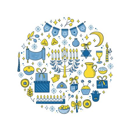 gelt: Hanukkah design elements made in circle. Illustration