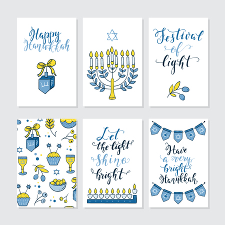 Set of greeting cards for Hanukkah with holiday lettering and design elements. Menorah, candles, donuts, garland, bow, cupcake, candles  and Jewish star.