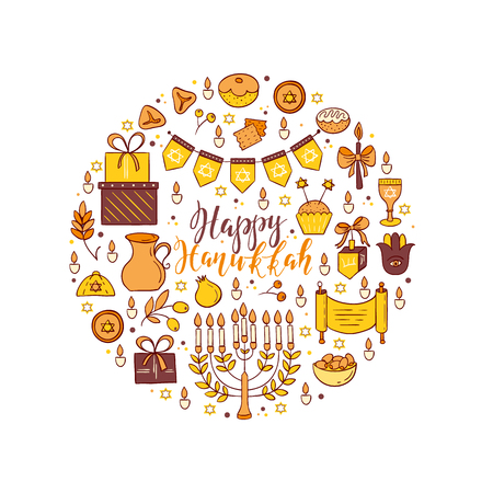 gelt: Set of Hanukkah design elements made in circle. Menorah, wreath, candles, donuts, garland, bow, gifts, candles, dreidel, confetti coins oil sufganiyan snowflakes and Jewish star