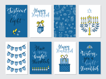 gelt: Set of greeting cards for Hanukkah with holiday lettering and design elements Menorah, wreath, donuts, bow, gifts, candles, dreidel, confetti, coins, oil, sufganiyan, snowflakes and Jewish star Illustration