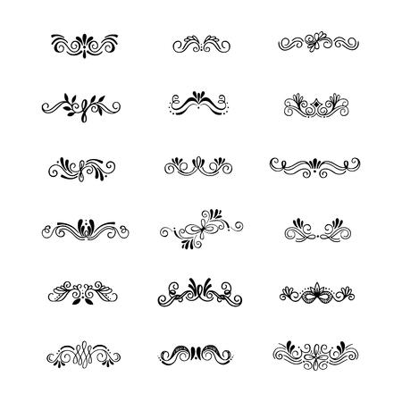手のベクトル コレクションには、インクを使った罫線が描画されます。ユニークな花モチーフとデザインの仕切り。インクの罫線ベクトルの仕切り