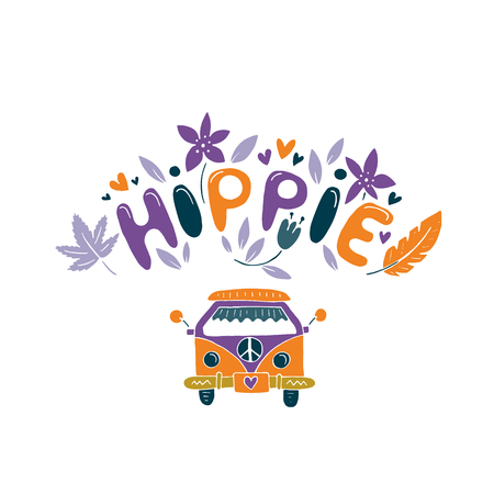 Hippie vector illustration with flowers, feather and minivan. Çizim