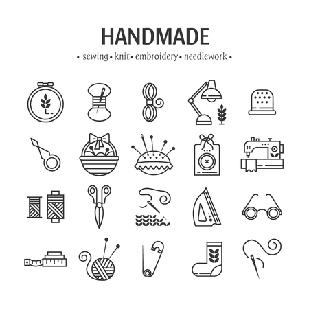 Vector hand made icons set - symbols or icons of sewing, knit, embroidery, needlework. Perfect for banners, flyers and web design.