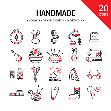 Vector Hand made icons set - symbols or logos of sewing, knit, embroidery, needlework. Perfect for banners, flyers and web design. Vettoriali