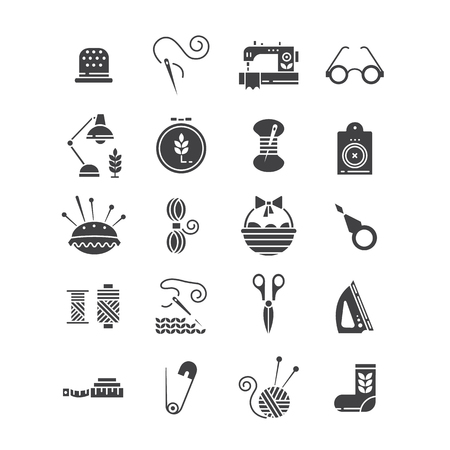 Vector Hand made icons set - symbols or logos of sewing, knit, embroidery, needlework. Perfect for banners, flyers and web design. Illustration