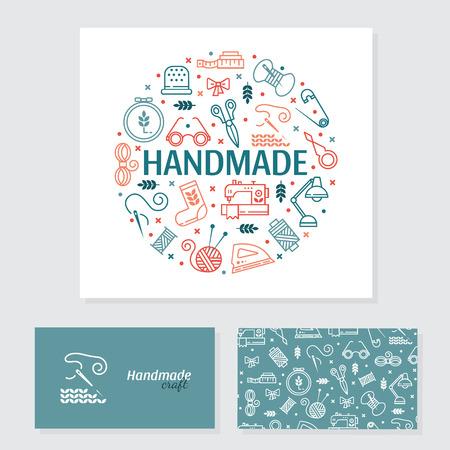 Vector Hand gemaakt banner en visitekaartje. Met de hand gemaakte pictogrammen set - symbolen of logo's van naaien, breien, borduren, handwerken. Visitekaartje met voor- en achterpagina. Handgemaakte workshop. Stockfoto - 93319356